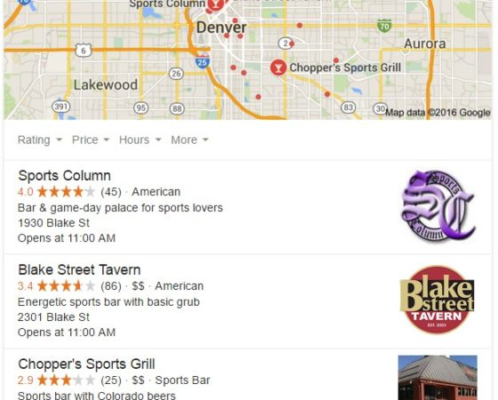 Business and Map Results – Restaurant and Sports Bar